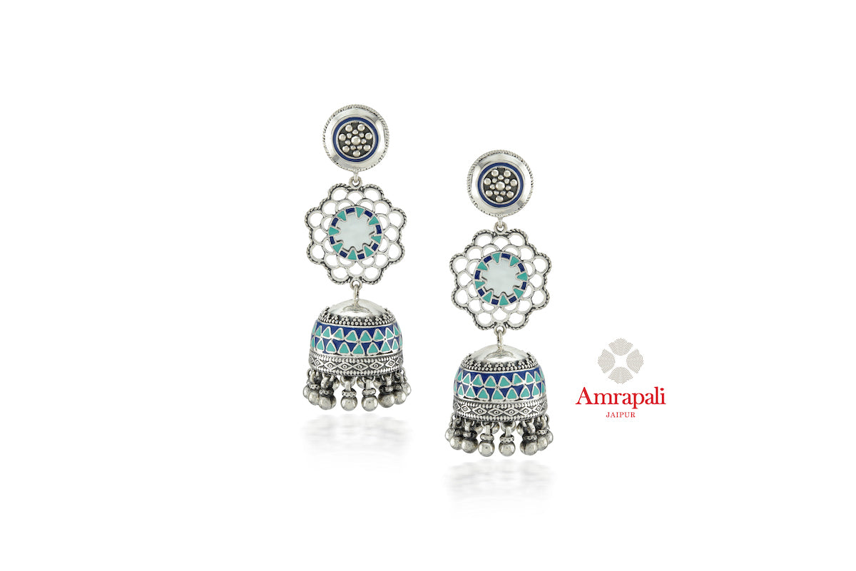 Shop stunning Amrapali blue enamel silver jhumki earrings online in USA. Enhance your ethnic attires with exquisite Amrapali silver jewelry, silver earrings from Pure Elegance Indian fashion store in USA.-front