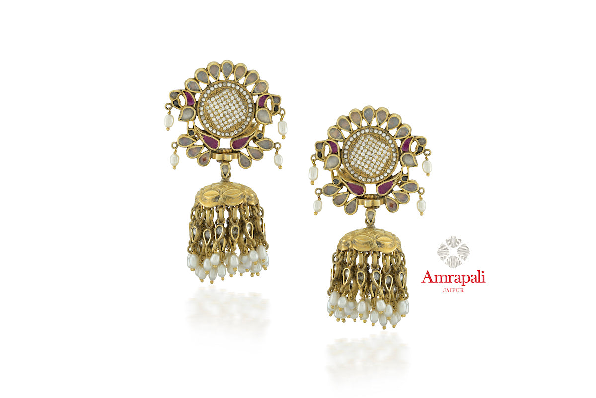 Buy Amrapali silver gold plated glass, zircon floral top jhumka earrings online in USA with pearls. Enhance your ethnic attires with exquisite Amrapali silver gold plated wedding jewelry, silver gold plated earrings from Pure Elegance Indian fashion store in USA.-front