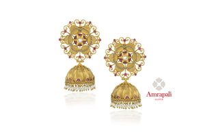 Buy attractive Amrapali silver gold plated floral top jhumka earrings online in USA with pearls. Enhance your ethnic attires with exquisite Amrapali silver gold plated wedding jewelry, silver gold plated earrings from Pure Elegance Indian fashion store in USA.-front