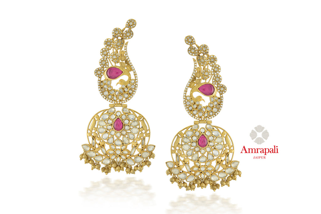 Shop beautiful Amrapali silver gold plated zircon and glass peacock top earrings online in USA. Enhance your ethnic attires with exquisite Amrapali silver gold plated wedding jewelry, silver gold plated earrings from Pure Elegance Indian fashion store in USA.-front