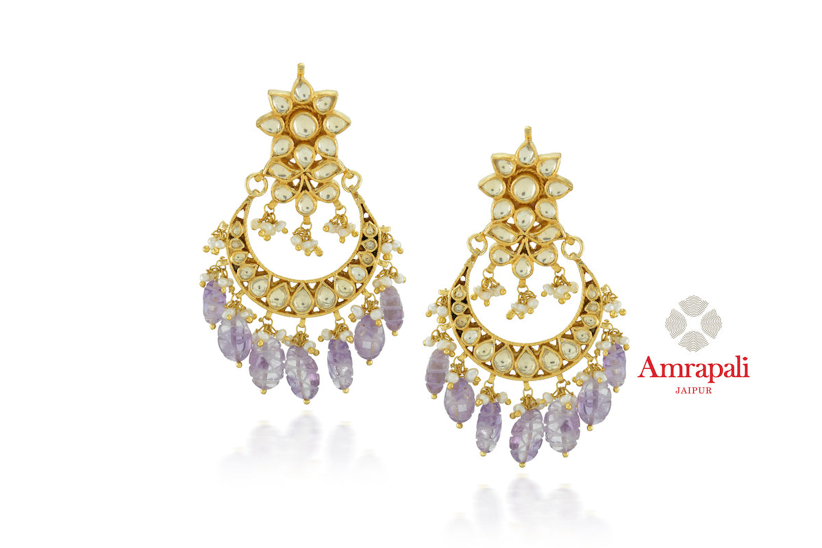 Buy stunning Amrapali silver gold plated glass chandbali online in USA with purple stones. Enhance your ethnic attires with exquisite Amrapali silver gold plated wedding jewelry, silver gold plated earrings from Pure Elegance Indian fashion store in USA.-front