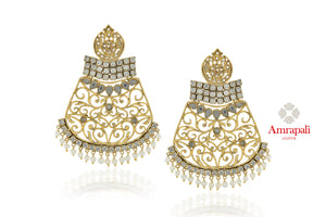 Buy Amrapali silver gold plated zircon and pearl floral jaal earrings online in USA. Enhance your ethnic attires with exquisite Amrapali silver gold plated wedding jewelry, silver gold plated earrings from Pure Elegance Indian fashion store in USA.-full view