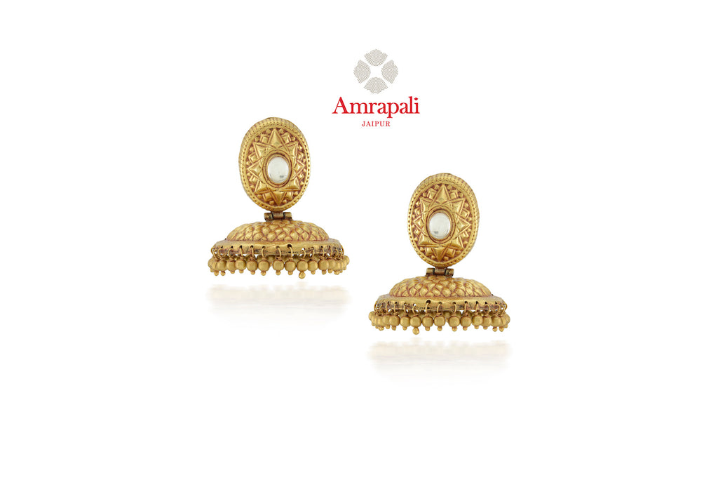 Shop Amrapali lovely silver gold plated jhumki online in USA. Enhance your ethnic attires with exquisite Amrapali silver gold plated wedding jewelry, silver gold plated earrings from Pure Elegance Indian fashion store in USA.-front