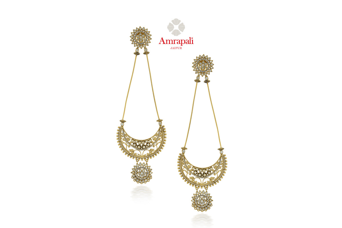 Buy Amrapali silver gold plated glass and zircon drop earrings online in USA. Enhance your ethnic attires with exquisite Amrapali silver gold plated wedding jewelry, silver gold plated earrings from Pure Elegance Indian fashion store in USA.-front