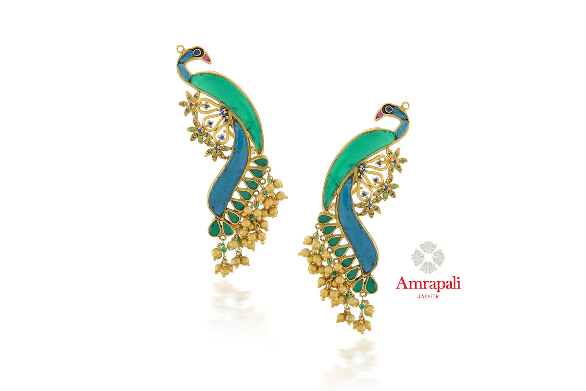 Buy Amrapali green and blue glass silver gold plated peacock earrings online in USA. Enhance your ethnic attires with exquisite Amrapali silver gold plated wedding jewelry, silver gold plated earrings from Pure Elegance Indian fashion store in USA.-front