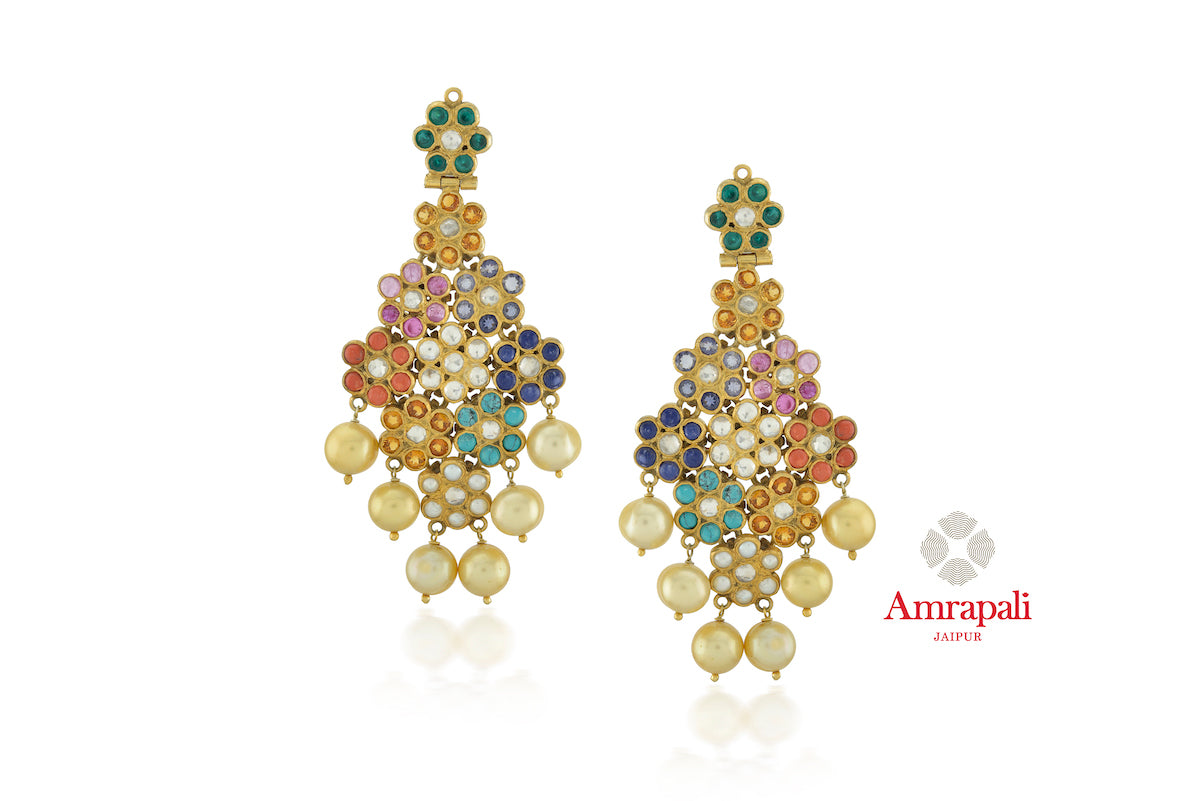 Shop exquisite Amrapali silver gold plated colorful stone floral earrings online in USA. Enhance your ethnic attires with exquisite Amrapali silver gold plated wedding jewelry, silver gold plated earrings from Pure Elegance Indian fashion store in USA.-front