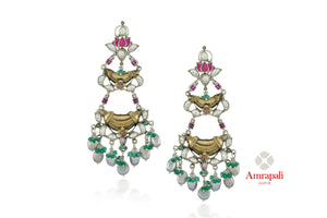 Shop gorgeous Amrapali silver gold plated two-tone glass drop earrings online in USA. Enhance your ethnic attires with exquisite Amrapali silver gold plated wedding jewelry, silver gold plated earrings from Pure Elegance Indian fashion store in USA.-front