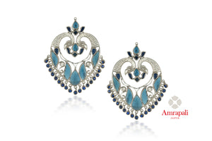 Shop gorgeous Amrapali blue stone silver peacock earrings online in USA. Enhance your ethnic attires with exquisite Amrapali silver jewelry, silver earrings from Pure Elegance Indian fashion store in USA.-front