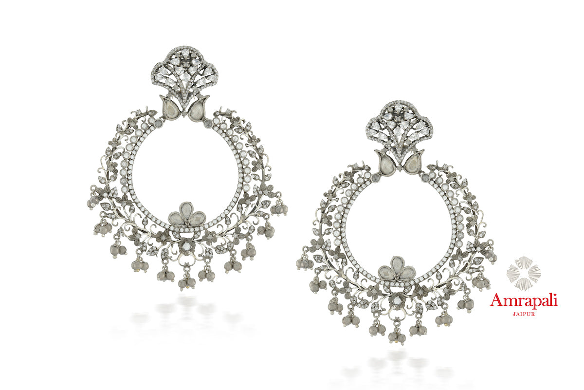 Buy exquisite Amrapali pearl, glass and zircon silver chandbali earrings online in USA. Enhance your ethnic attires with exquisite Amrapali silver jewelry, silver earrings from Pure Elegance Indian fashion store in USA.-front