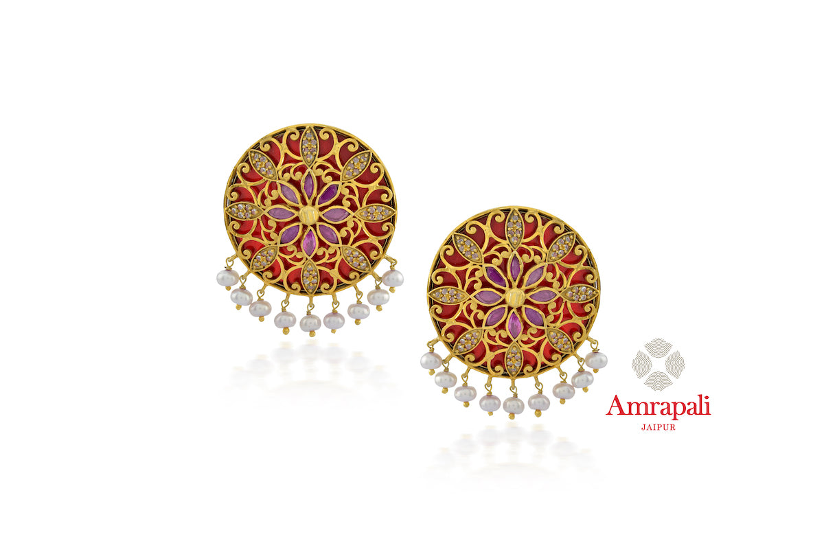 Shop beautiful Amrapali silver gold plated red glass zircon stud earrings online in USA. Enhance your ethnic attires with exquisite Amrapali silver gold plated wedding jewelry, silver gold plated earrings from Pure Elegance Indian fashion store in USA.-front