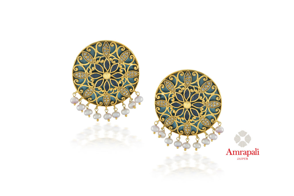 Buy stunning Amrapali silver gold plated blue glass zircon stud earrings online in USA with pearls. Enhance your ethnic attires with exquisite Amrapali silver gold plated wedding jewelry, silver gold plated earrings from Pure Elegance Indian fashion store in USA.-front