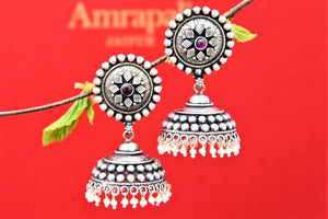 Buy ethnic Amrapali oxidized silver jhumki earrings online in USA with pearl drops. Choose from a beautiful range of Indian jewelry, silver jewelry, silver earrings, gold plated jewelry from Pure Elegance Indian fashion store in USA.-full view