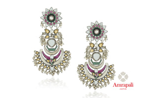 Shop Amrapali silver glass floral top drop earrings online in USA with pearls. Enhance your ethnic attires with exquisite Amrapali silver jewelry, silver earrings from Pure Elegance Indian fashion store in USA.-front