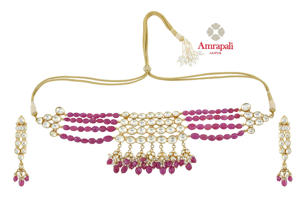 Buy beautiful Amrapali silver gold plated stone necklace set online in USA. Shop exquisite Indian silver jewelry, silver necklaces, silver earrings, gold plated jewelry from Amrapali from Pure Elegance Indian fashion store in USA.-front