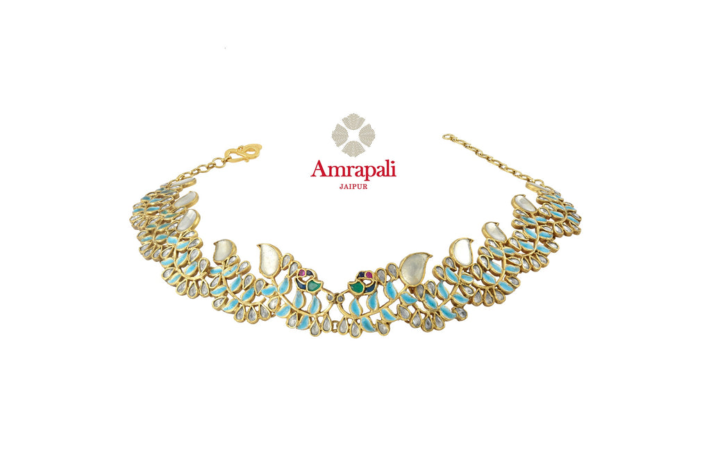 Buy stunning Amrapali silver gold plated leaf design glass necklace online in USA. Shop exquisite Indian silver jewelry, silver necklaces, silver earrings, gold plated jewelry from Amrapali from Pure Elegance Indian fashion store in USA.-front