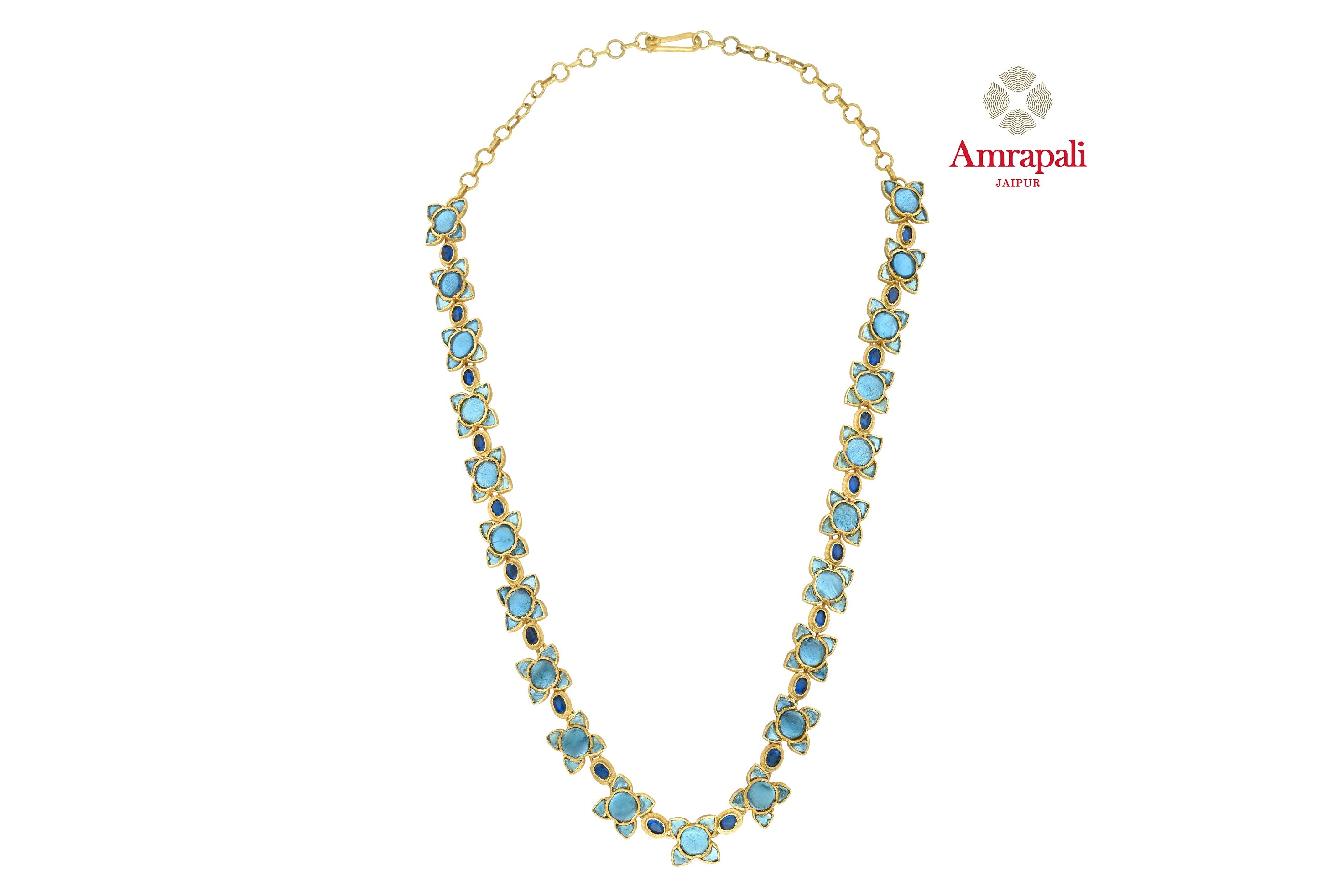 Shop beautiful Amrapali silver gold plated blue floral glass necklace online in USA. Shop exquisite Indian silver jewelry, silver necklaces, silver earrings, gold plated jewelry from Amrapali from Pure Elegance Indian fashion store in USA.-front