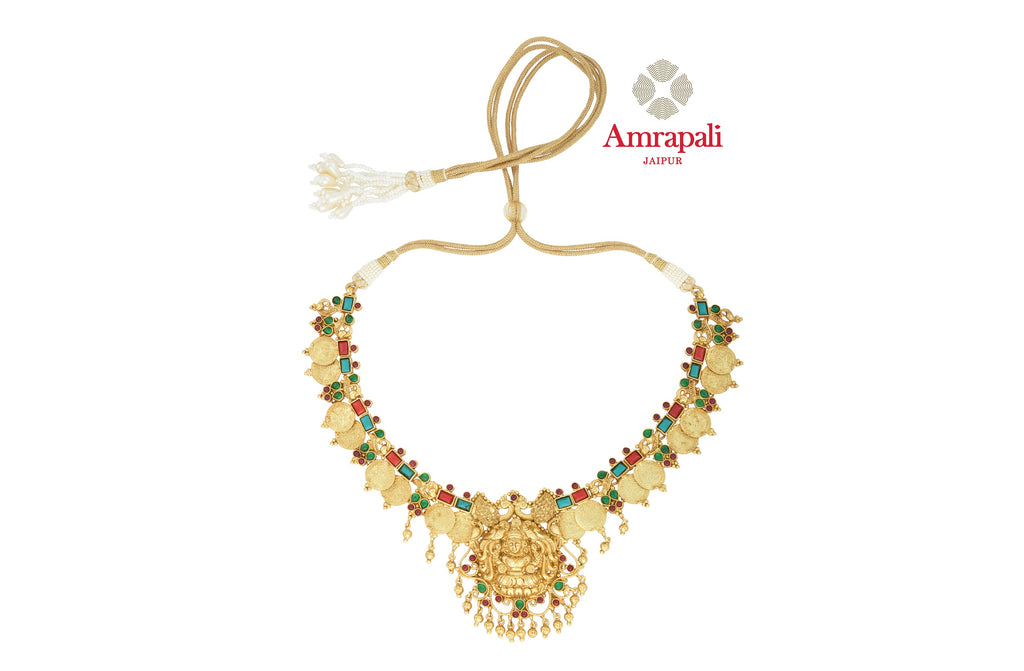 Buy traditional Amrapali silver gold plated stone necklace online in USA. Shop exquisite Indian silver jewelry, silver necklaces, silver earrings, silver gold plated jewelry from Amrapali from Pure Elegance Indian fashion store in USA.-front