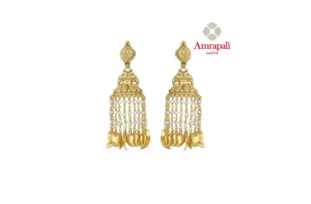 Shop stunning Amrapali silver gold plated jhumki online in USA with pearl tassels. Shop exquisite Indian silver jewelry, silver necklaces, silver earrings, gold plated jewelry from Amrapali from Pure Elegance Indian fashion store in USA.-front