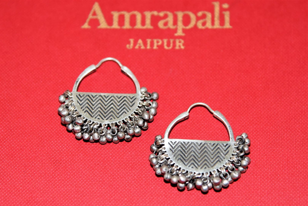 Buy beautiful antique silver chandbali earrings online in USA with ghungroo beads. Complete your festive look with exclusive silver gold plated jewelry, gold plated earrings, silver jewelry, silver earrings from Pure Elegance Indian fashion store in USA.-front
