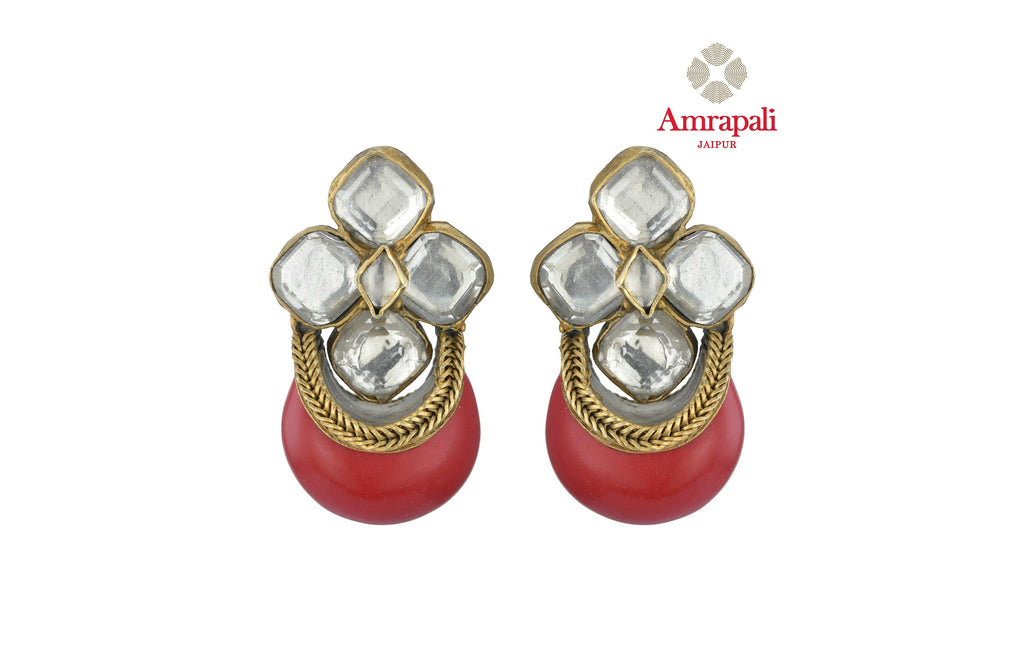 Shop beautiful Amrapali silver gold plated glass earrings online in USA with red stone. Shop exquisite Indian silver jewelry, silver necklaces, silver earrings, gold plated jewelry from Amrapali from Pure Elegance Indian fashion store in USA.-front
