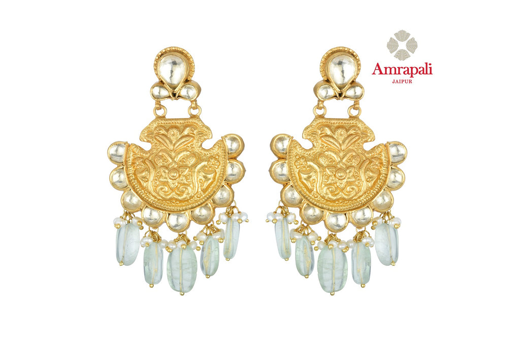 Buy beautiful Amrapali silver gold plated glass earrings online in USA with stone drops. Shop exquisite Indian silver jewelry, silver necklaces, silver earrings, gold plated jewelry from Amrapali from Pure Elegance Indian fashion store in USA.-front