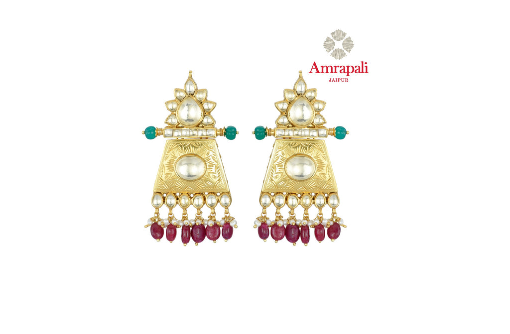 Shop beautiful Amrapali silver gold plated stone earrings online in USA with red stone drops. Shop exquisite Indian silver jewelry, silver necklaces, silver earrings, gold plated jewelry from Amrapali from Pure Elegance Indian fashion store in USA.-front