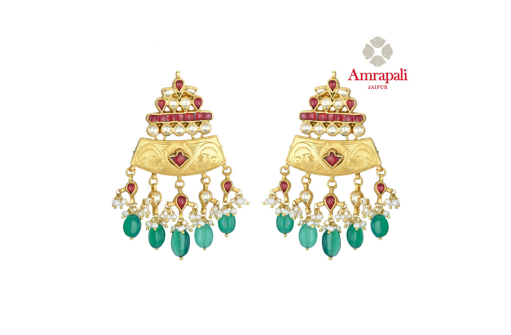 Buy beautiful Amrapali silver gold plated stone earrings online in USA with pearl and green stone drops. Shop exquisite Indian silver jewelry, silver necklaces, silver earrings, gold plated jewelry from Amrapali from Pure Elegance Indian fashion store in USA.-front