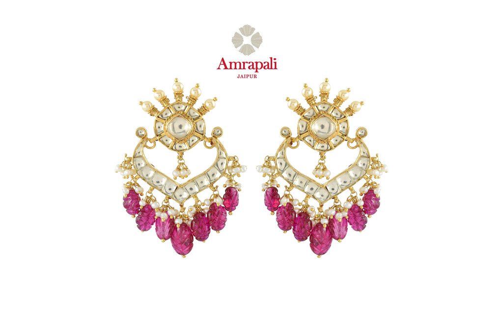 Buy gorgeous Amrapali silver gold plated chandbali earrings online in USA with pink stone drops. Shop exquisite Indian silver jewelry, silver necklaces, silver earrings, gold plated jewelry from Amrapali from Pure Elegance Indian fashion store in USA.-front