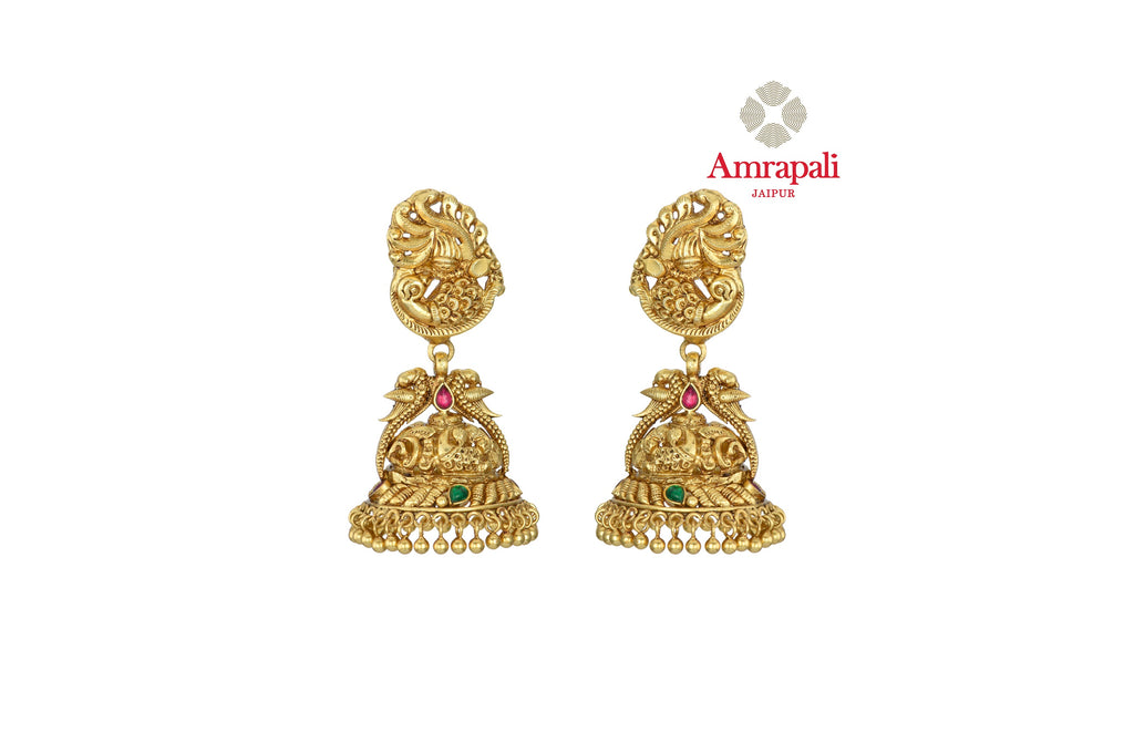 Buy stunning Amrapali silver gold plated traditional jhumki earrings online in USA. Shop exquisite Indian silver jewelry, silver necklaces, silver earrings, gold plated jewelry from Amrapali from Pure Elegance Indian fashion store in USA.-front