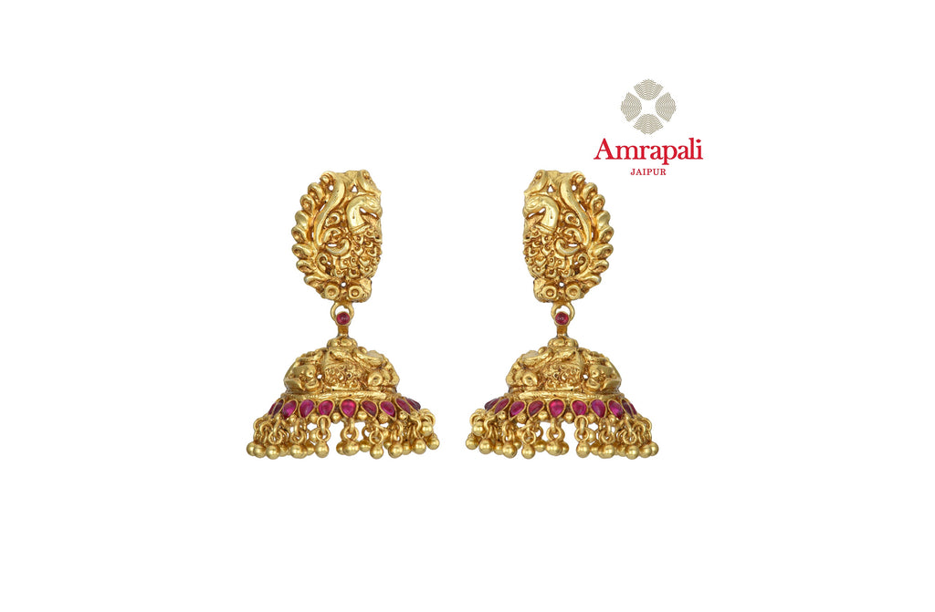 Buy gorgeous Amrapali silver gold plated traditional jhumka online in USA. Shop exquisite Indian silver jewelry, silver necklaces, silver earrings, gold plated jewelry from Amrapali from Pure Elegance Indian fashion store in USA.-front