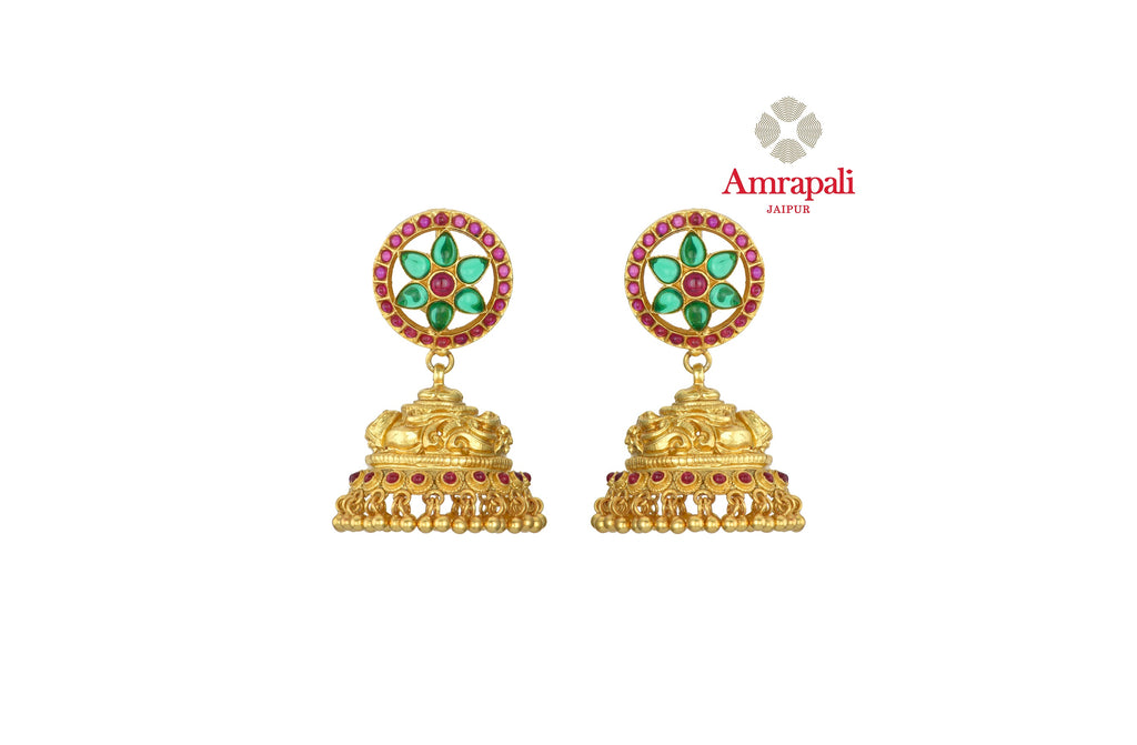 Buy gorgeous Amrapali silver gold plated jhumka online in USA with green and pink stone floral top. Shop exquisite Indian silver jewelry, silver necklaces, silver earrings, gold plated jewelry from Amrapali from Pure Elegance Indian fashion store in USA.-front
