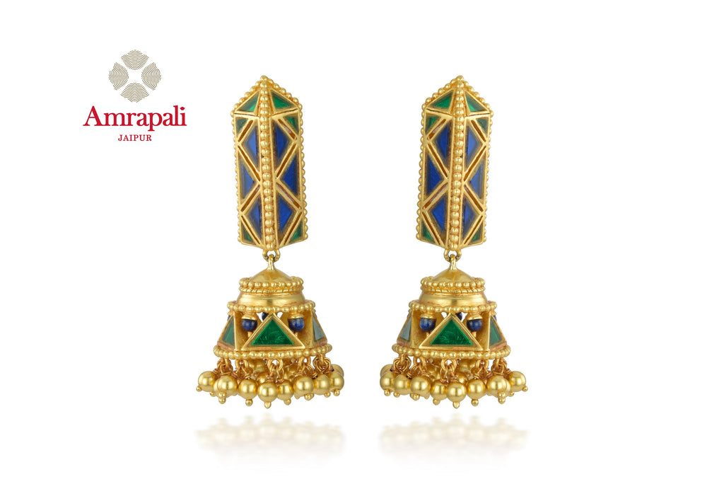 Shop beautiful Amrapali silver gold plated green and blue jhumki earrings online in USA. Shop exquisite Indian silver jewelry, silver necklaces, silver earrings, gold plated jewelry from Amrapali from Pure Elegance Indian fashion store in USA.-front