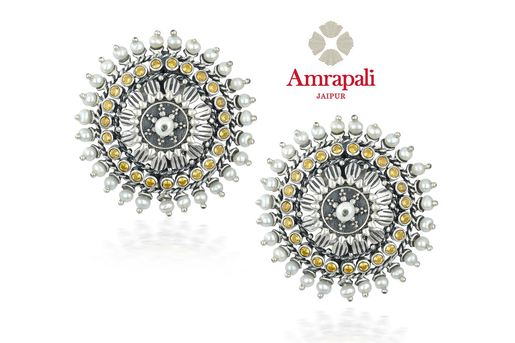 Buy stunning Amrapali silver stud earrings online in USA with pearl beads. Shop exquisite Indian silver jewelry, silver necklaces, silver earrings, gold plated jewelry from Amrapali from Pure Elegance Indian fashion store in USA.-front