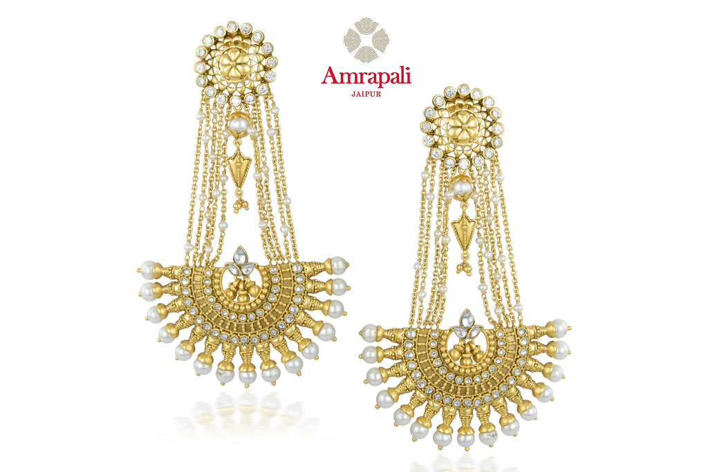 Shop exquisite Amrapali silver gold plated glass and pearl drop earrings online in USA. Shop exquisite Indian silver jewelry, silver necklaces, silver earrings, gold plated jewelry from Amrapali from Pure Elegance Indian fashion store in USA.-front