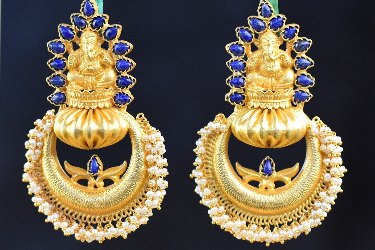 20A597-Silver-Gold-Plated-Ganesh-Amrapali-Earrings-A