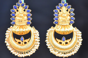 20A597-Silver-Gold-Plated-Ganesh-Amrapali-Earrings-B