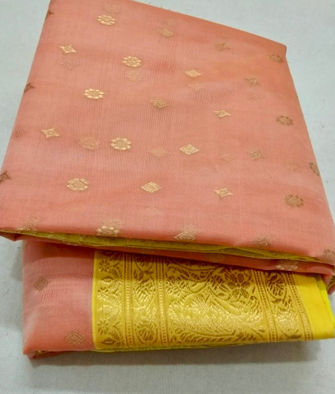 90Z109-RO Peach Chanderi Silk Saree