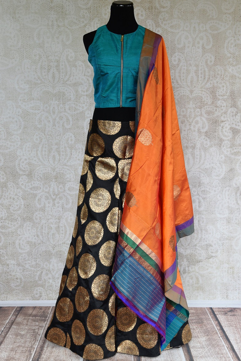 Pure Elegance brings stylish Indo western dresses online. Buy elegant black Banarasi palazzo with raw silk blouse online for Indian festivals and other occasions.-full view