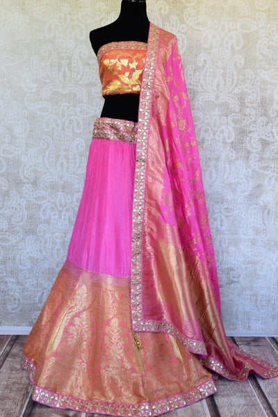 Buy pink and orange Banarasi silk Lehenga with blouse piece and dupatta online in USA.  Pure Elegance store brings exquisite range of Indian dresses online in USA.-full view