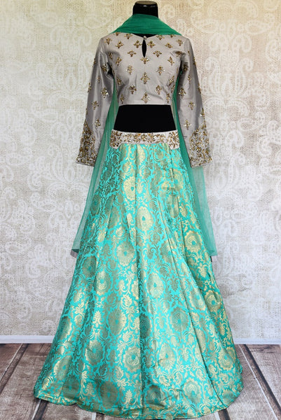 Buy online designer green Banarasi skirt with grey embroidered blouse with dupatta .  Pure Elegance store brings Indian formal dresses online for women in USA.-full view
