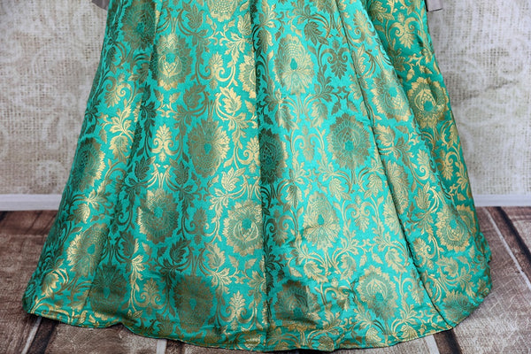 Buy online designer green Banarasi skirt with grey embroidered blouse with dupatta .  Pure Elegance store brings Indian formal dresses online for women in USA.-skirt