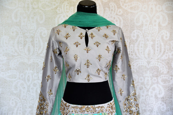 Buy online designer green Banarasi skirt with grey embroidered blouse with dupatta .  Pure Elegance store brings Indian formal dresses online for women in USA.-blouse