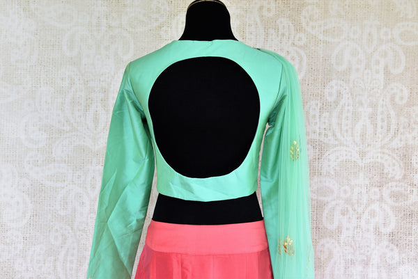 Buy online designer Green Embroidered Silk Blouse with Pink Skirt and Dupatta.  Pure Elegance brings stylish Indowestern clothing online for Indian women in USA.-back