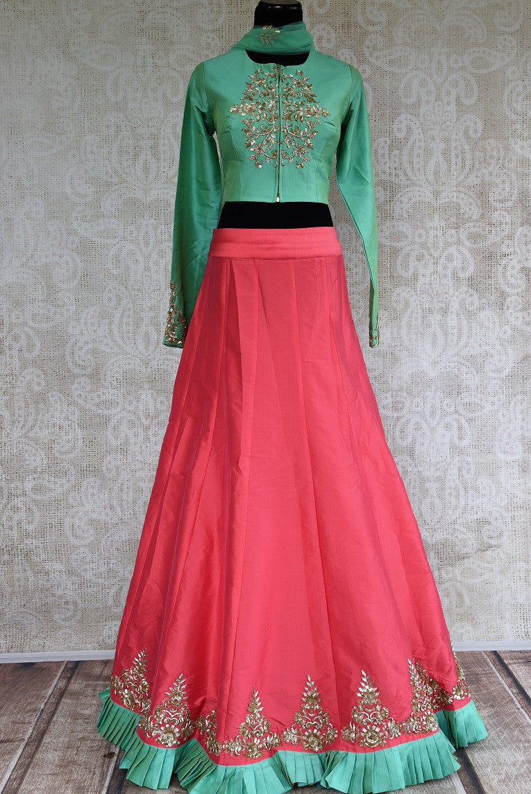 Buy online designer Green Embroidered Silk Blouse with Pink Skirt and Dupatta.  Pure Elegance brings stylish Indowestern clothing online for Indian women in USA.-full view