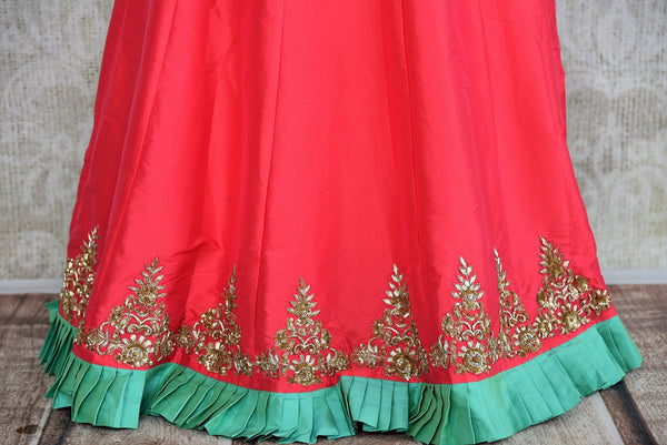 Buy online designer Green Embroidered Silk Blouse with Pink Skirt and Dupatta.  Pure Elegance brings stylish Indowestern clothing online for Indian women in USA.-skirt