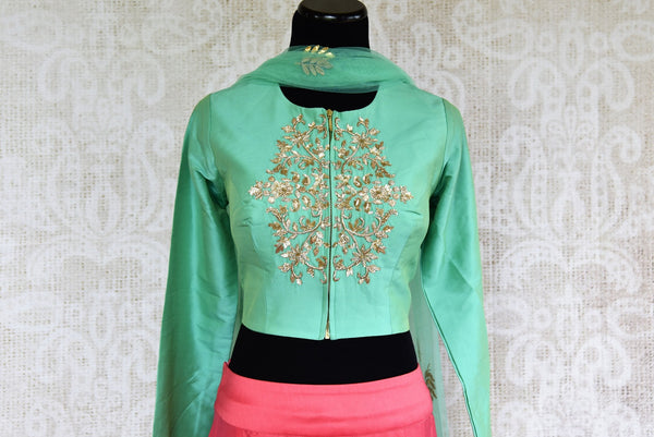 Buy online designer Green Embroidered Silk Blouse with Pink Skirt and Dupatta.  Pure Elegance brings stylish Indowestern clothing online for Indian women in USA.-front