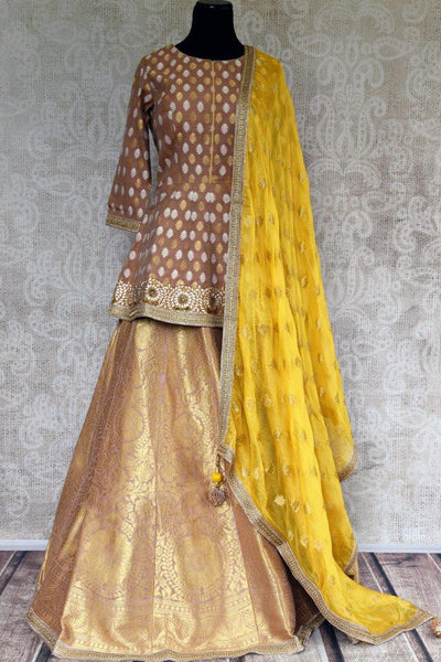 Buy elegant brown gold Banarasi Lehenga Skirt online in USA. Pure Elegance store brings you an exquisite collection of designer Indian dresses online in USA.-full view