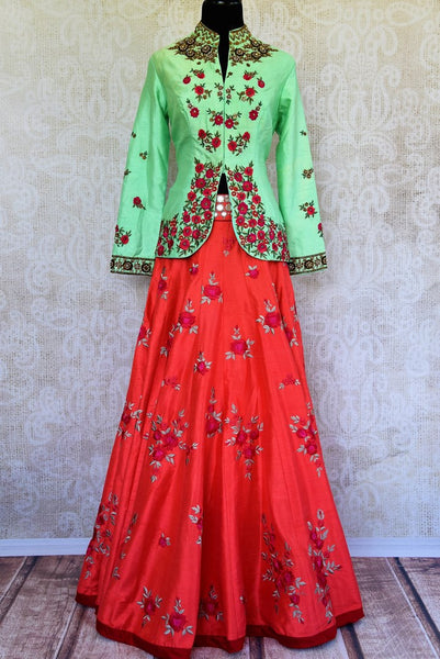 Buy green raw silk embroidered kurta with red chanderi skirt online in USA  from Pure Elegance. Our store brings you designer Indian outfits for every occasion.-full view