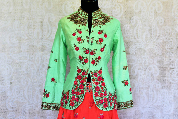 Buy green raw silk embroidered kurta with red chanderi skirt online in USA  from Pure Elegance. Our store brings you designer Indian outfits for every occasion.-top