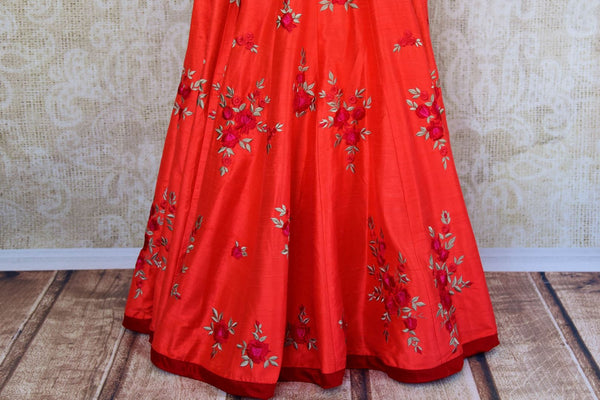 Buy green raw silk embroidered kurta with red chanderi skirt online in USA  from Pure Elegance. Our store brings you designer Indian outfits for every occasion.-skirt